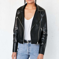 Silence + Noise Raw-Edge Vegan Leather Moto Jacket - Urban Outfitters
