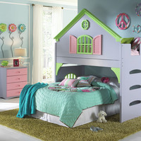 dCOR design Donco Kids Twin Doll House Loft Bed with 4 Drawer Chest