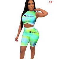 Champion Fashion New Letter Print Multicolor Sports Leisure Two Piece Suit Vest Top And Shorts 1#
