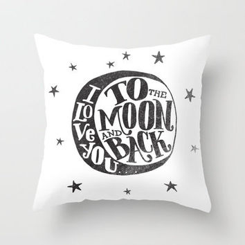 I LOVE YOU TO THE MOON AND BACK Throw Pillow by Matthew Taylor Wilson