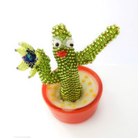 Beaded figurine - Constatine the Cactus - cute seed bead plant toy - funny gift idea - handmade beadwork miniature - blooming cactus figure