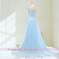 Light Sky Blue Rhinestones Front Slit One-shoulder A-Line Chiffon Long prom dresses/party dresses/long evening dress/Free custom 0022 = 1956834244