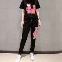 """Louis Vutitton"" Women Casual Personality Cartoon Robot Bear Print Short Sleeve Trousers Set Two-Piece Sportswear"