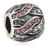 Everbling Entwined Beads With Pink and Clear Austrian Crystal 925 Sterling Silver Bead Fits Pandora Charm Bracelet