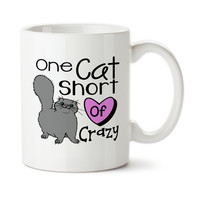 One Cat Short Of Crazy, Crazy Cat Lady, Gift For Cat Lover, Funny Cat Mug, Coffee Cup, 15oz Mug, Typography, Cute Cat Cup, Ceramic