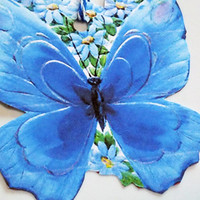 Blue Butterfly Tags - Set of 3 - Butterfly Shape Tag - Retro Butterfly - Gift Tags - Garden Tags - Thank Yous - Mid Century  - Blue Flowers