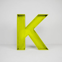 "12"" Inch Neon Yellow Wood Letter 'K' Rustic Decor"