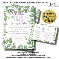 Printable Bridal Shower invitation - Purple and Green Shower - Botanical Greenery Invite - FREE matching recipe card -Printed with envelopes
