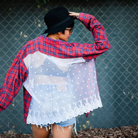 Reworked Vintage Flannel Shirt with Lace Back