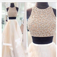 Two pieces Prom Dresses,Long Prom Dress,Long Prom Dress,A line Prom Dress,dresses for prom,BD081
