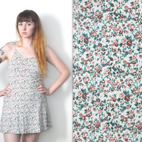 Vintage 90s Hipster // White Multi Floral Skater Dress // Tie Shoulders // Sleeveless // Short Mini Length // Size Small