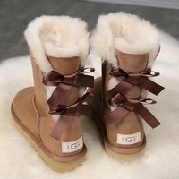 UGG : girl Large bow tie Keep warm Snow boots-4
