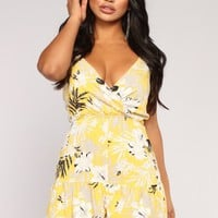 Flowers Are Blooming Floral Romper - Mustard/White
