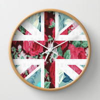 United Kingdom Flowers Wall Clock by Evan Smith