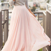 Pink Chiffon Flare Long Skirt