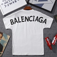 Balenciaga Fashion New Letter Print Women Men Leisure Top T-Shirt White