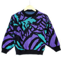 Vintage 80s Sparkle Abstract Roses Ugly Sweater