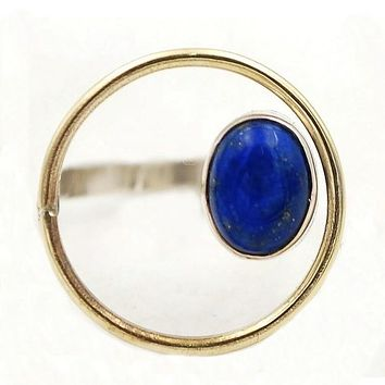 Lapis Oval Sterling Silver Circle Ring