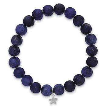 Shoot for the Stars Gift Boxed Lapis with Sterling Star Charm Bracelet