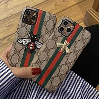 GG Embroidered Pattern iPhone 7/8/11/XS Phone Case Cover