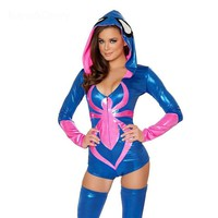 Adult Fantasia Women Cosplay Latex Hooded Coat and Stocking Sexy Costumes Imitation Leather Spiderman Performance Clothing