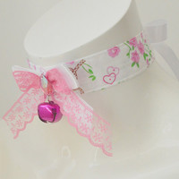 Cherry love - colorful kawaii cute neko lolita kitten pet play ddlg collar with bell - pink and white