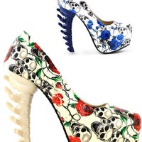 Sugar Skull Punk Platform Pumps - 2 Colors