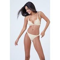 Traveler Ribbed Shoulder Tie Triangle Bikini Top - Blonde White