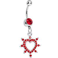 Red Gem Bursting in Love Paved Heart Dangle Belly Ring | Body Candy Body Jewelry