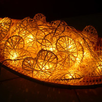 White Heart Colorful Rattan Ball String Lights For Wedding and House decoration (20 Lights/Set)