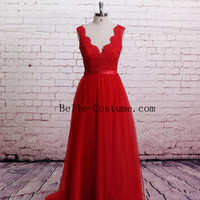Red Lace Prom Dresses, Red Lace Prom Dress, Long Lace Prom Dresses