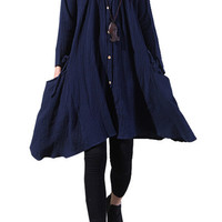 Navy Blue Pleated Long Sleeve Midi Dress