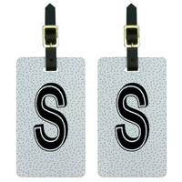 Letter S Initial Sprinkles Black White Luggage Tag Set