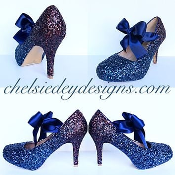 Burgundy Glitter High Heels, Red Navy Blue Ombre Prom Pumps
