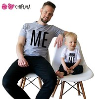 ME and MINI ME Pattern Family Matching Outfits Children Clothing Dad Son Clothes Family t shirts Fashion Apparel Family Look
