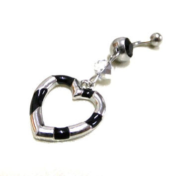 Black and Silver Heart Navel Ring, Silver & Black Belly Ring, Silver Crystal Navel Ring, Heart Belly Ring,Black Belly Ring,Dangle Belly Ring