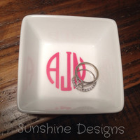 Monogrammed Ring Dish, Monogrammed Jewelry Dish, Wedding Gift