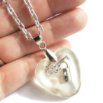 Heart Resin Necklace - Love Necklace - Wedding, Bridal, OOAK
