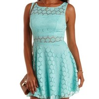 Mint Crochet Cut-Out Skater Dress by Charlotte Russe