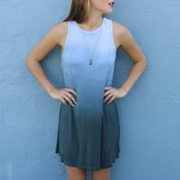 Ocean Fog Teal Ombre Sleeveless Jersey Swing Dress