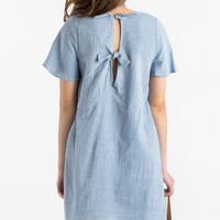 Kendra Chambray Shift Dress with Back Tie