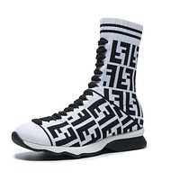 FENDI Trending Woman Stylish Knit Socks Boots Breathable Sneakers Running Shoes White