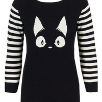 Sidecca Cat Face Striped Sleeve Pullover Knit Sweater