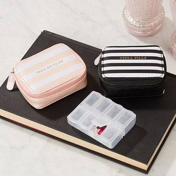 Chill Pills Vitamin and Pill Organizer in Pink Stripes