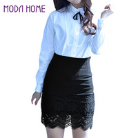 Elegant Floral Lace High Waist Bodycon Skirts Womens Sexy Stretch Office Pencil Skirt Women Short Skirt Saia Faldas XXL