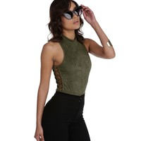 Olive Lace You Up Bodysuit