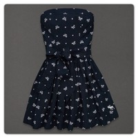 New Abercrombie & Fitch Lucy Dress / Color Navy Blue Bow /Size Large L / A&F NWT