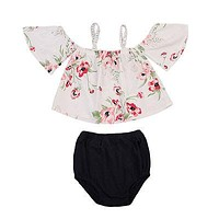 Summer Cute born Infant Baby Girls Floral Off Shoulder Tops + Triangle shorts Outfits Clothes