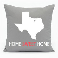 "State Outline with Heart Over Home Town Pillow ""Home Sweet Home"" - Personalized"