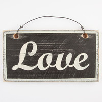 Love Wood Sign Black/White One Size For Women 24385212501